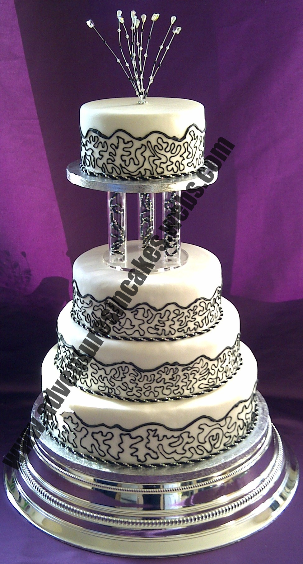 black silver and white wedding cakes black white and silver wedding cake 11877