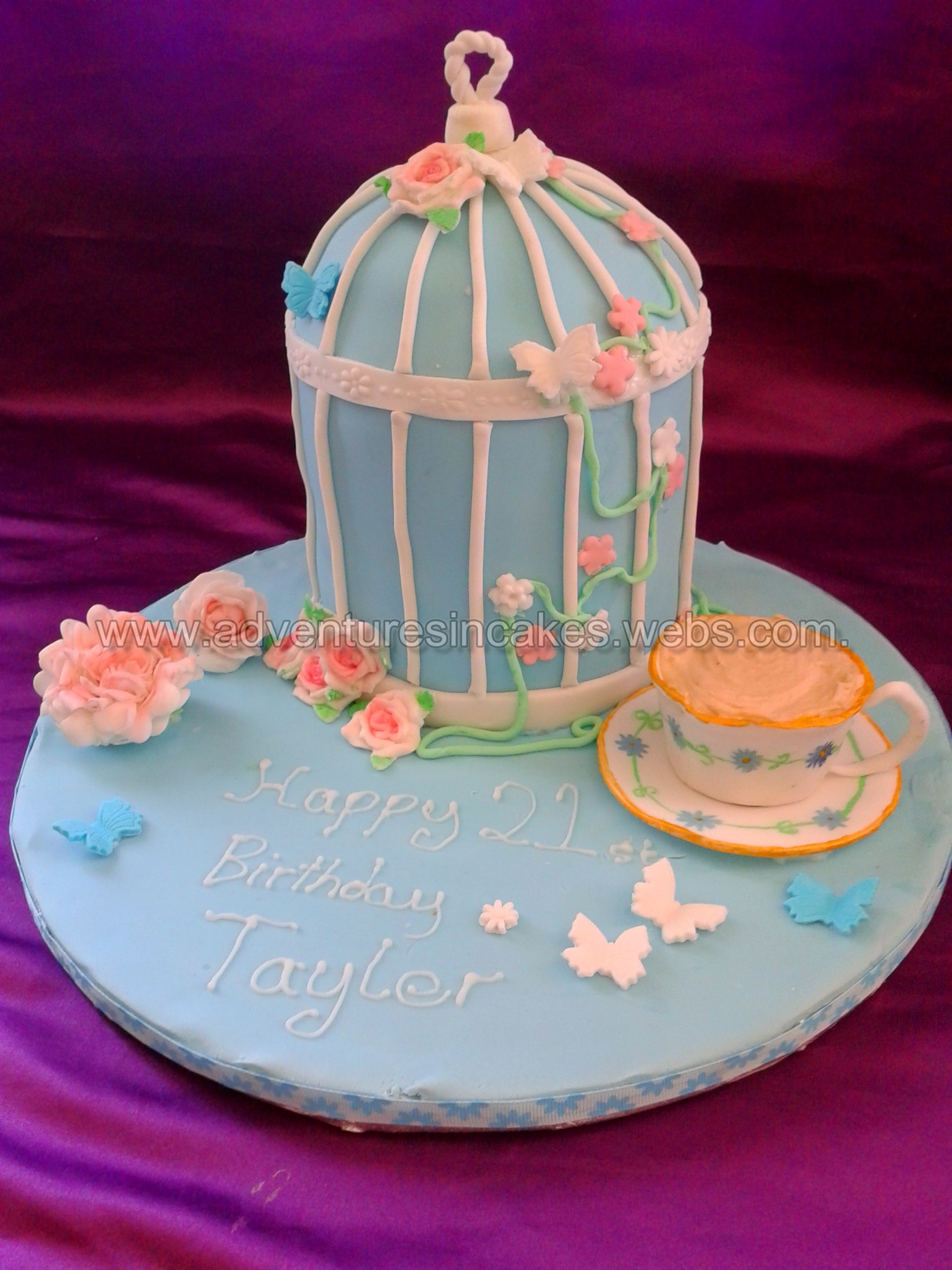 Vintage Birdcage And Teacup Birthday Cake